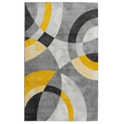 ANTA Tapis de salon contemporain - 120 X 160 cm - jaune