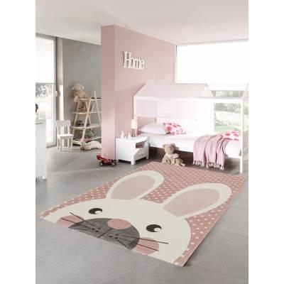 KOTON - Tapis Chambre Enfant Lapin Rose Pastel 160x230cm