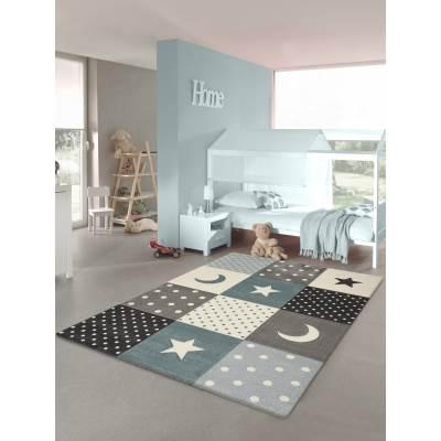 KOTON - Tapis chambre enfant Etoiles Bleu pastel 160x230cm
